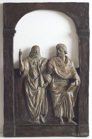 Bronze sculpture Plato and Aristoteles