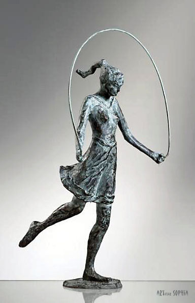 Bronze sculpture skipping rope girl