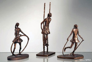 Bronze sculpture children playing