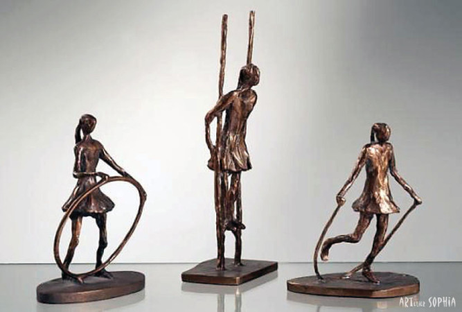 Bronze sculpture bowling a hoopo, stilt walking, skip-rope