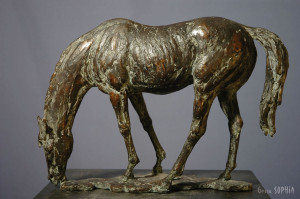 Bronze sculpture Grazing Horse