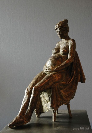 "Bronze sculpture ""Pregnant Nude"""