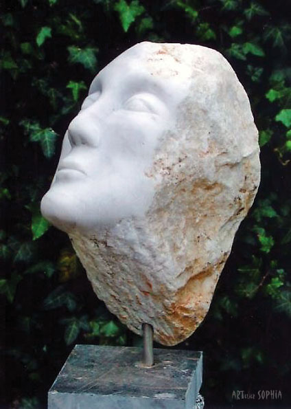 White marble face