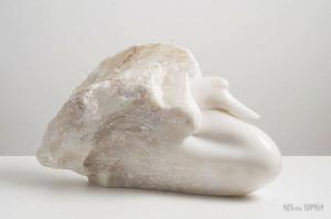 Stone sculpture Swan